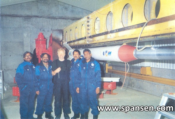 ISRO Scientists alongside RH-300 Mk.II Sounding Rocket in Norway