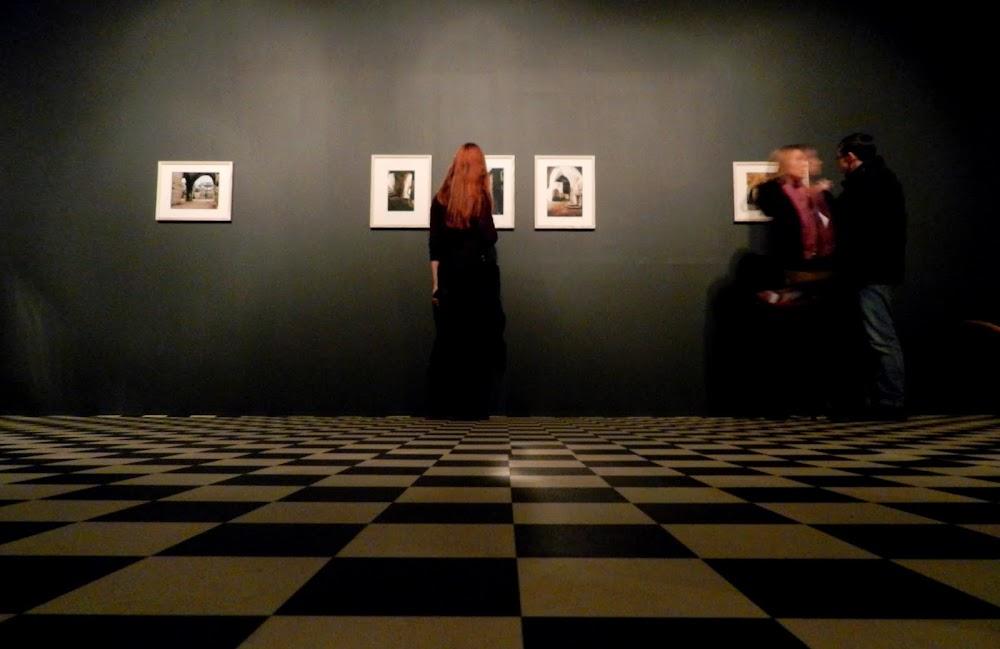 checkerboard floors help highlight the artwork