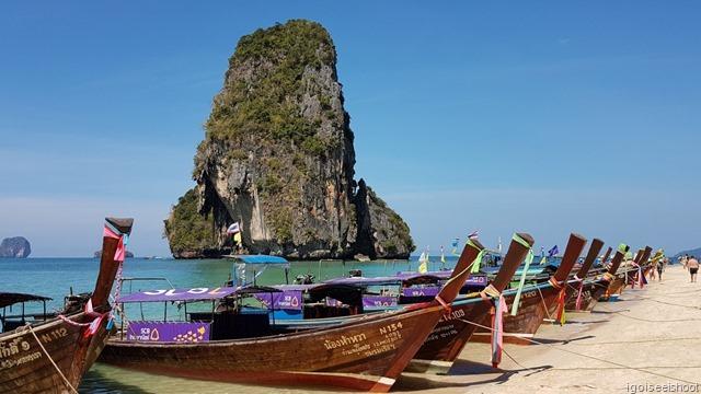 Long-tail boats at Phra Nang Beach, Railay Peninsula, Krabi