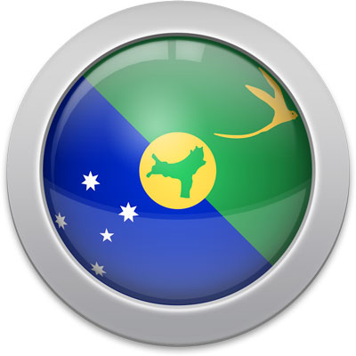 Christmas-Island flag icon with a silver frame