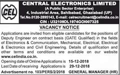CEL Vacancy Notice 2019 indgovtjobs