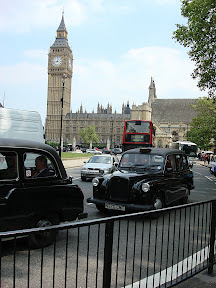 Big Ben, the infamous black taxicabs, and a double decker bus - so London.