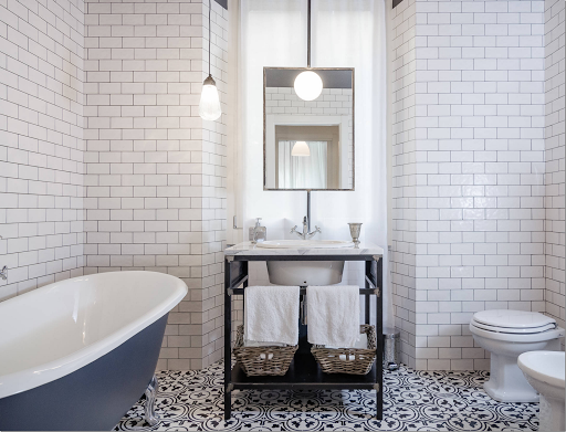 Using Subway Tile With A Black And White Cement Tile? Use Dark Grout To Tie  It In Together.