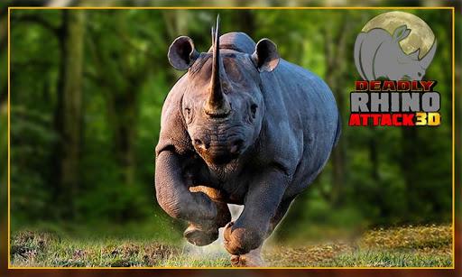 愤怒的野生犀牛的攻击3D