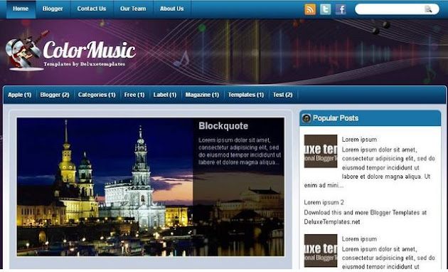 Color Music Blogger Template