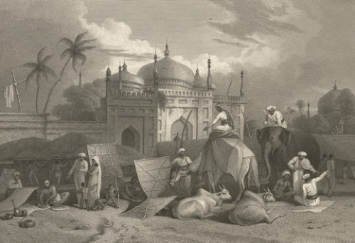 The Chauk Bazar (or Marketplace) and Husseinee Dalan by Charles D'Oyoy, 1827