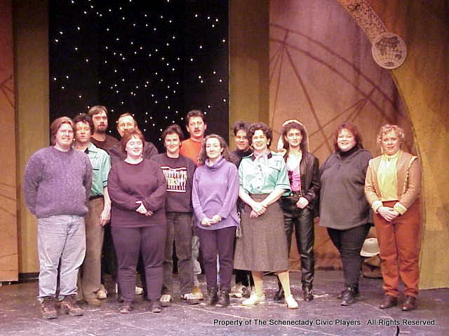 Cast and Crew - David Rossman, Colin McCarty, Tom Justin, Matt Thornton, Laura Houlihan, Kathy Saraceno, Joel Katz, Melissa Brown, Michelle Henry, Rita Russell, Eileen McCashion, Kelly Bird and Christine Boice Saplin in ON THE VERGE - January/February 2000.  Property of The Schenectady Civic Players Theater Archive.