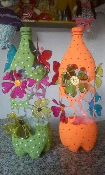 M s y m s manualidades adorables ideas con botellas de - Como pintar botellas de plastico ...
