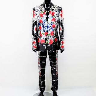 Dolce & Gabbana Silk Painted 3-Piece Suit Sz 52