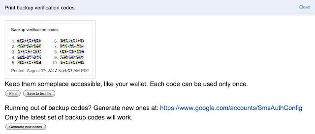 Google 2-step verification wallet codes