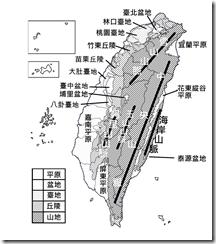 臺灣地形分布圖_淡黑白_字_山線