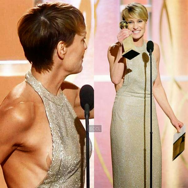 Robin Wright suffered wardrobe malfunction while accepting Golden Globe Awards. The actress during her speech, turned a little too sharp to the side revealing her pasty.