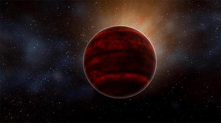 ilustração de uma anã vermelha como Proxima Centauri