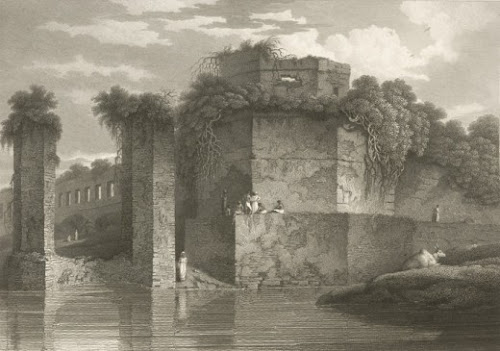 Now ruined Bastion of the Lalbag Fort - by Charles D'Oyly, 1816.