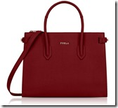 Furla Small Leather Tote Bag in Cherry
