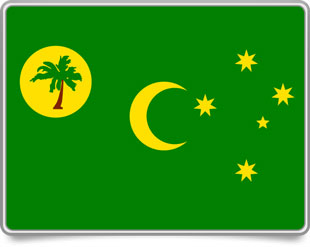 Cocos Island  framed flag icons with box shadow