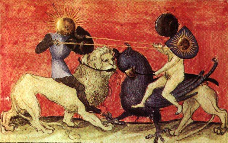 Aurora Consurgens Manuscript Fig7 Sun And Moon Knights Fight With Lances, Hermetic Emblems From Manuscripts 1