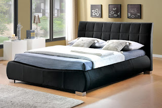 Elegant LB bed frame available in black or white faux leather