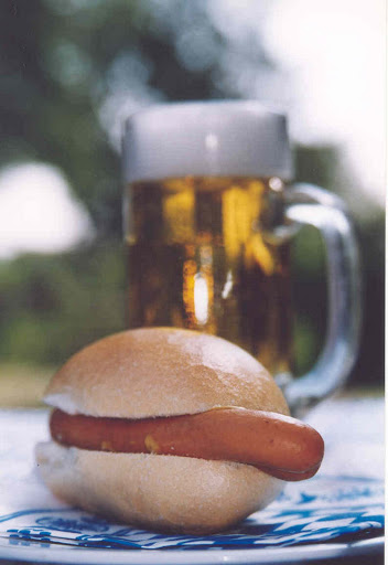 of: Beer and beef sausage - a typical speciality from Hof. From Driving the Alpine Road in Germany