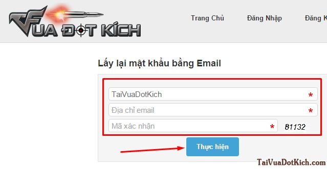 điền email vua đột kích