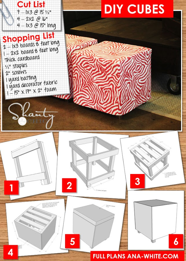 Ana White | Upholstered Cubes - DIY Projects