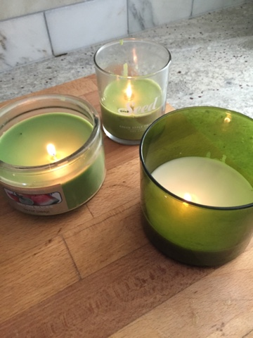 Green lit candles