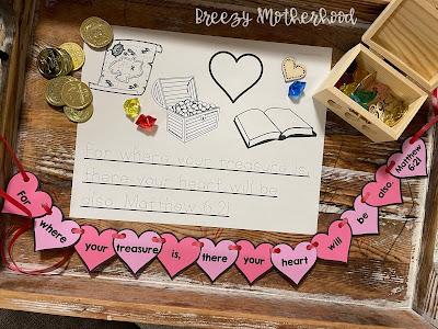 Matthew 6:21 handwriting tracing memory verse for preschoolers