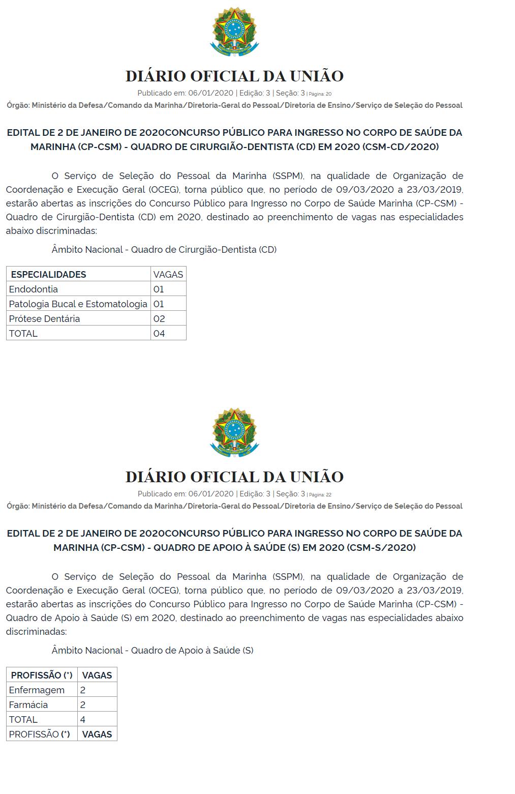 Edital Marinha Saúde: novas vagas