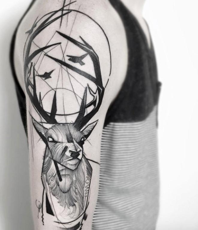 este_esboço_estilo_de_veado_tatuagem