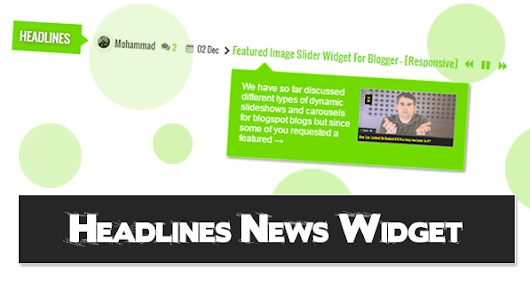 Headlines News Widget For Blogger With Tooltips