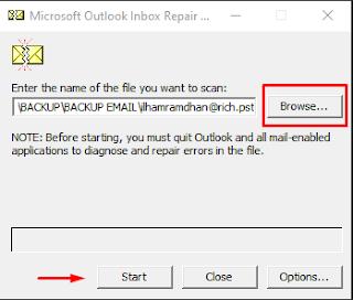 tidak bisa send and receive email outlook