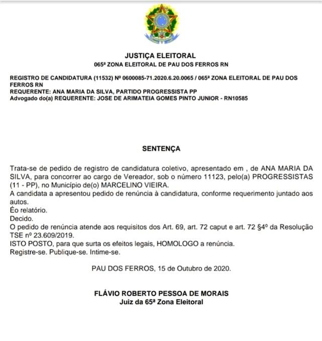 ELEIÇÕES MUNICIPAIS: CANDIDATA DO PP DE MARCELINO VIEIRA DESISTE DA DISPUTA