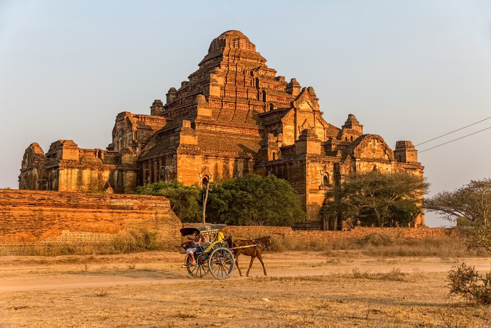 Visiting Bagan temples with a horse cart in Myanmar