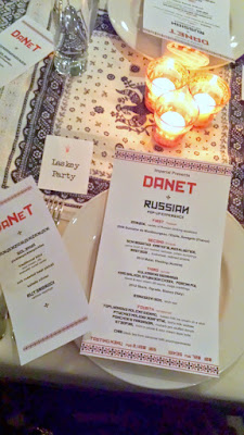 DaNet Russian Pop up Experience - find your assigned seats for your dining party at one of the communal tables