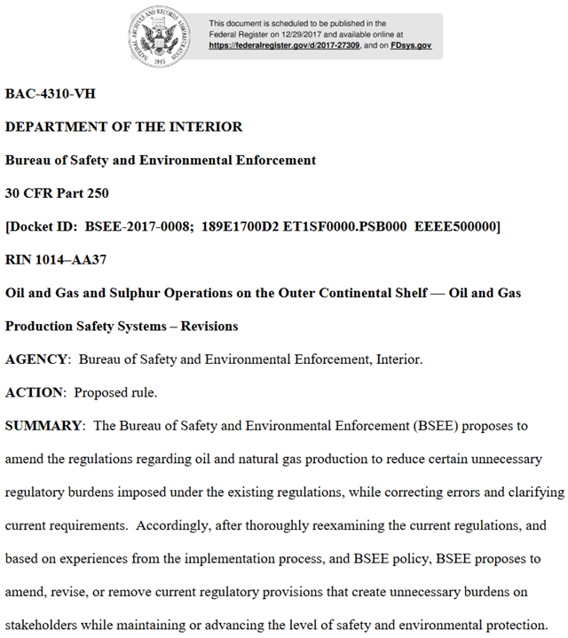 First page of the U.S. Interior Department's Bureau of Safety and Environmental Enforcement rule change, RIN 1014–AA37, 'Oil and Gas and Sulphur Operations on the Outer Continental Shelf — Oil and Gas Production Safety Systems – Revisions'. Graphic: Bureau of Safety and Environmental Enforcement