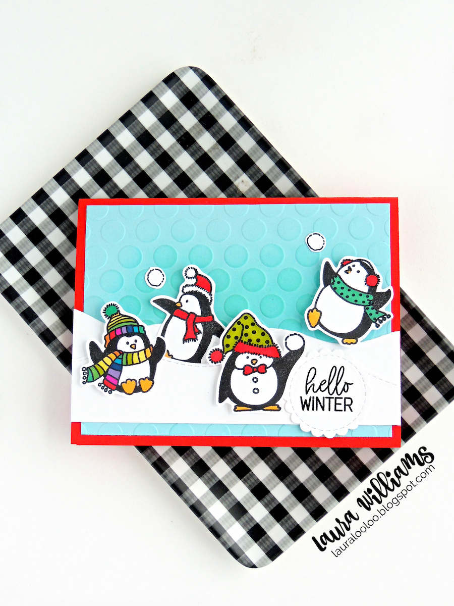 I did some coloring with markers on all of these handmade winter cards. It's pretty easy to color these penguin stamps because they just need a pop of color on their winter wear. I don't color enough to invest in expensive markers, but I do enjoy coloring with markers so I recently took a risk and purchased Caliart alcohol markers from Amazon. I didn't know if they'd be good or not but I actually REALLY like them and they were a great price (less than $40 last time I checked) for 100 markers! I've really been having fun with them.
