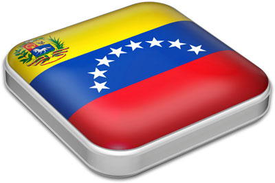 Flag of Venezuela with metallic square frame