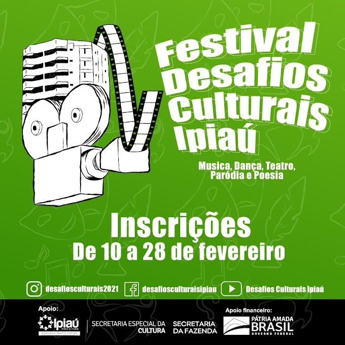 Desafios culturais Ipiaú: Inscrições de 10 a 28 de fevereiro