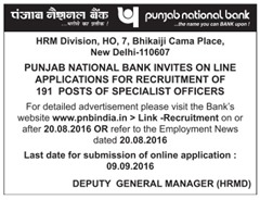 Punjab National Bank Specialist Officer Recruitment 2016 www.indgovtjobs.in