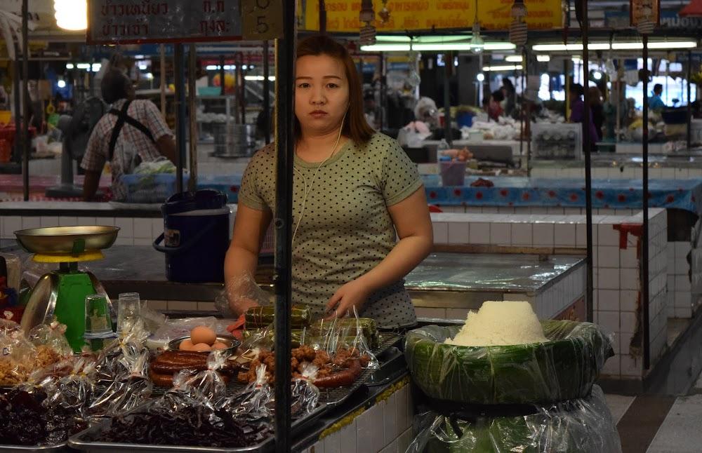 A startled market lady