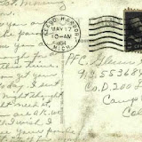 May 17, 1954 Keego Harbor postmarked postcard to PFC Glenn Shipp in Camp Carson, Colorado from his father