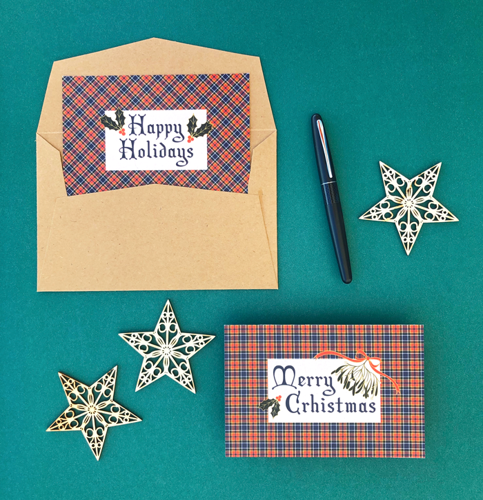 postcards, Merry Christmas, Happy Holidays, Scottish pattern, wood stars, snail mail, free download, letters, greeting card