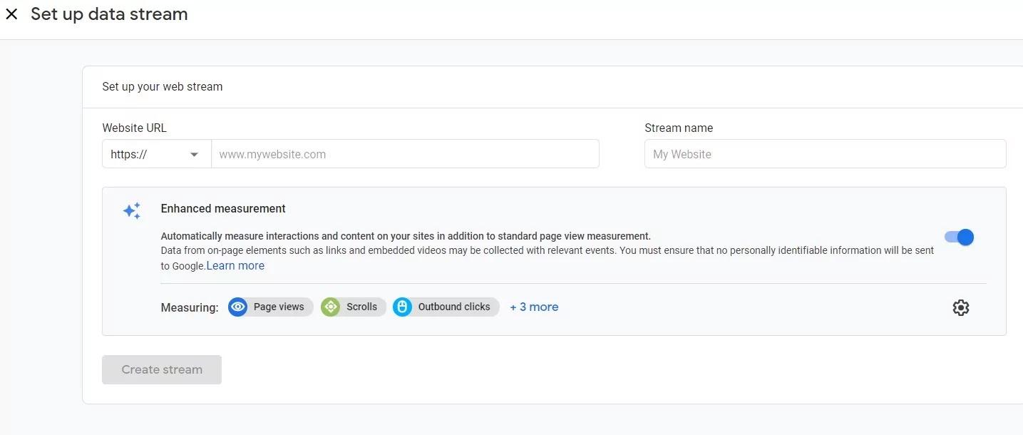 Google Analytics Account  Create Stream