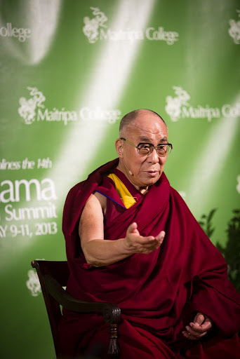 His Holiness the Dalai Lama at the press conference during the Dalai Lama Environmental Summit hosted by Maitripa College, Portland, Oregon, U.S., May 11, 2013. Photo by Leah Nash.