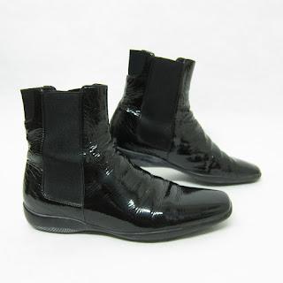 Prada Patent Leather Chelsea Boots