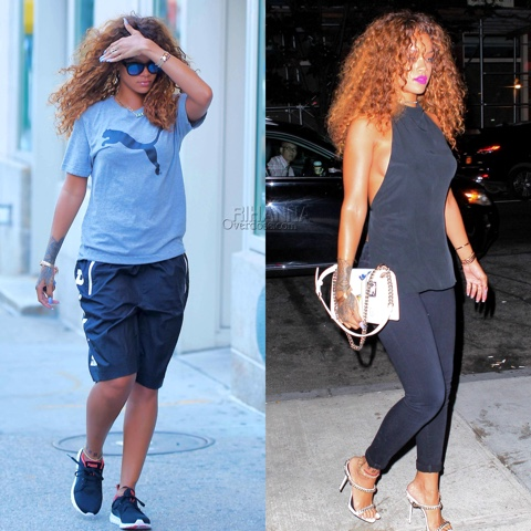 Rihanna in Ann Demeulemeester Halter Top and Citizens of Humanity Jeans