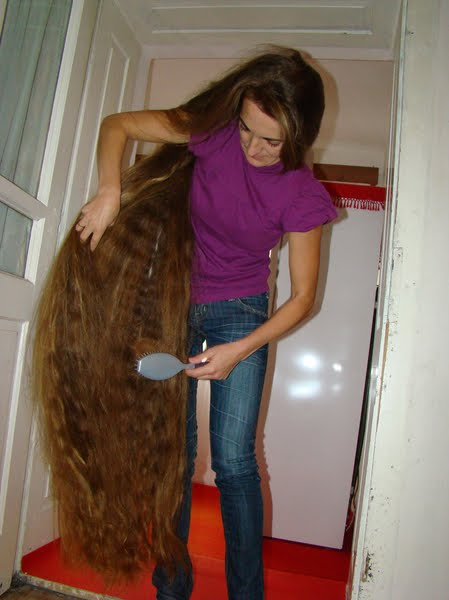 hair replacement non surgical Super long hair brushing