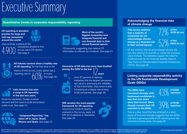 Executive Summary of KPMG's 2017 Survey of Corporate Responsibility (CR) Reporting. Graphic: KPMG