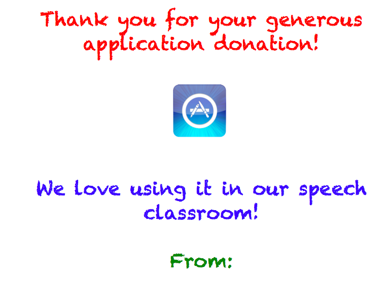 Thank you note for application donations icon