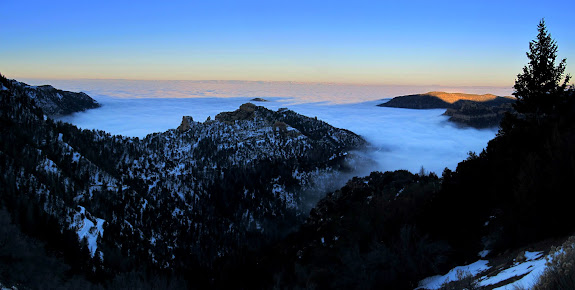 View over the fog-filled Castle Valley